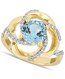 Blue Topaz (2-1/3 ct. t.w.) & White Topaz (1/4 ct. t.w.) Swirl Statement Ring in 18k Gold-Plated Sterling Silver
