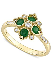 Emerald (1/3 ct. t.w.) & Diamond (1/10 ct. t.w.) Statement Ring in 14k Gold