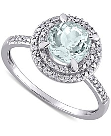Aquamarine (1-1/7 ct. t.w.) & Diamond (1/10 ct. t.w.) Halo Ring in 10k White Gold
