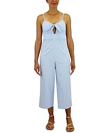 Juniors' Cotton Tie-Front Striped Jumpsuit