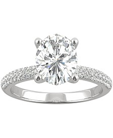 Moissanite Oval Pavé Engagement Ring (2-3/8 ct. t.w. DEW) in 14k White Gold