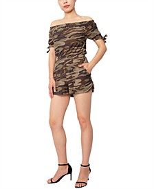Juniors' Camo-Print Off-The-Shoulder Tie-Sleeve Romper
