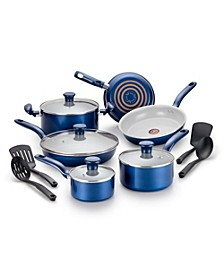 Initiatives Ceramic 14-Pc. Cookware Set, Blue