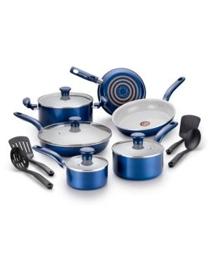 T-fal Initiatives Ceramic 14-Pc. Cookware Set, Blue