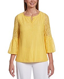 Lace Bubble 3/4 Sleeve Top