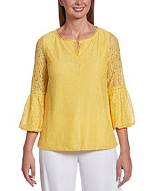 Rafaella Lace Bubble 3/4 Sleeve Top