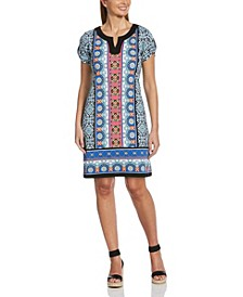 Terrazza Tiles Print Short Sleeve Dress