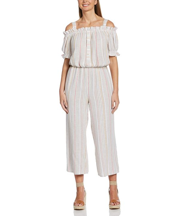 Rafaella Off-The-Shoulder Striped Jacquard Jumpsuit