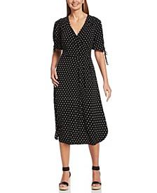 Polkadot Dot Print Short Tie Sleeve Hi-Low Midi Dress