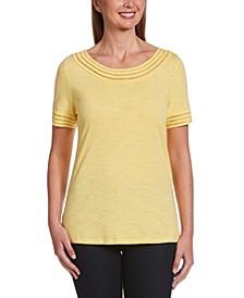 Solid Slub Short Sleeve Tee Shirt with Lattice Trim
