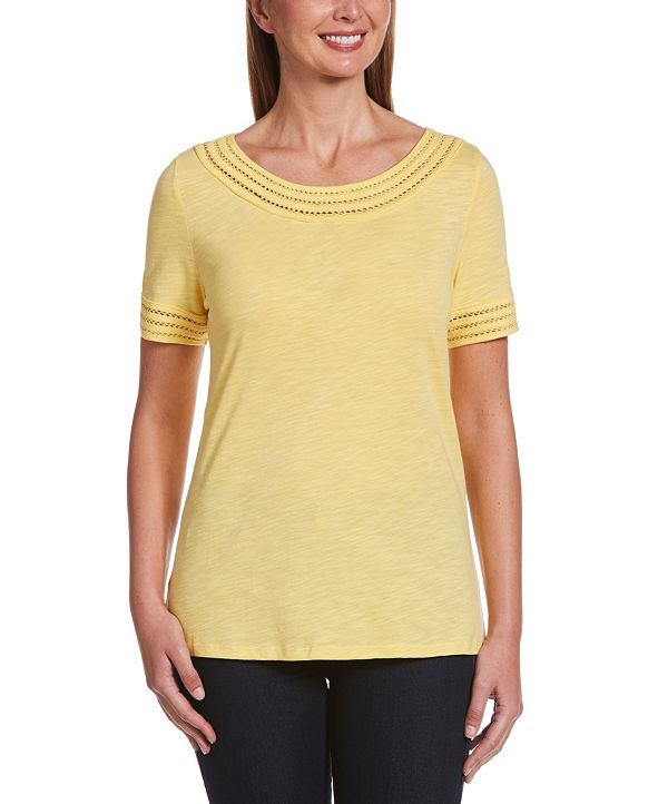 Rafaella Solid Slub Short Sleeve Tee Shirt with Lattice Trim