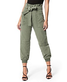 High-Waisted Paper-Bag Utility Jogger Pants