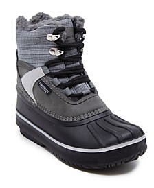 Big Boys Mixed Material Lace-Up Snow Boot