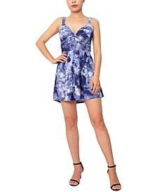 Tie-Dye Printed Twist-Front A-Line Dress