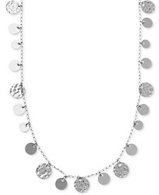 Nine West Necklace, Silver-Tone Hammered Disc Strand Necklace