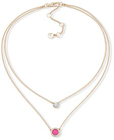 """Gold-Tone Stone & Crystal Layered Pendant Necklace, 16"""" + 3"""" extender"""