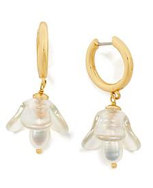 Gold-Tone Freshwater Pearl (5x7mm) Flower Charm Hoop Earrings