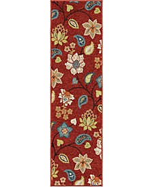"Terrace Garden Chintz Red 2'3"" x 8' Runner Rug"