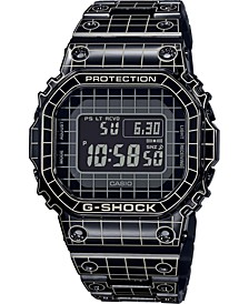 Men's Solar Digital Grid Metal Resin Strap Watch 43.2mm
