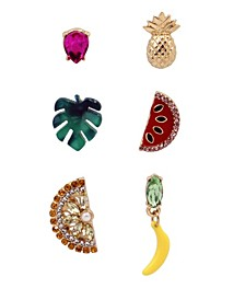 "Mixed Fruit Single Stud Earrings Set in Gold-tone Metal, 0.3""-0.9"""