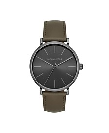 Men's Jayne Three-Hand Olive Leather Watch 42mm MK7147