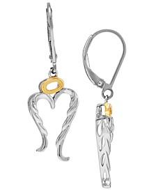 Angel Wing & Halo Leverback Drop Earrings in Sterling Silver & 14k Gold-Plate