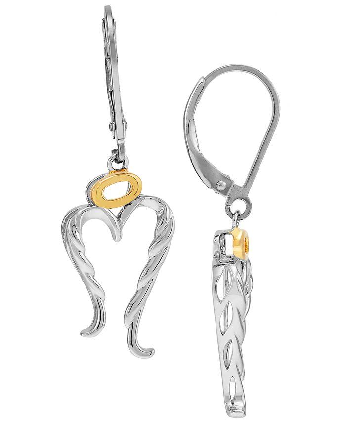 Macy's - Angel Wing & Halo Leverback Drop Earrings in Sterling Silver & 14k Gold-Plate