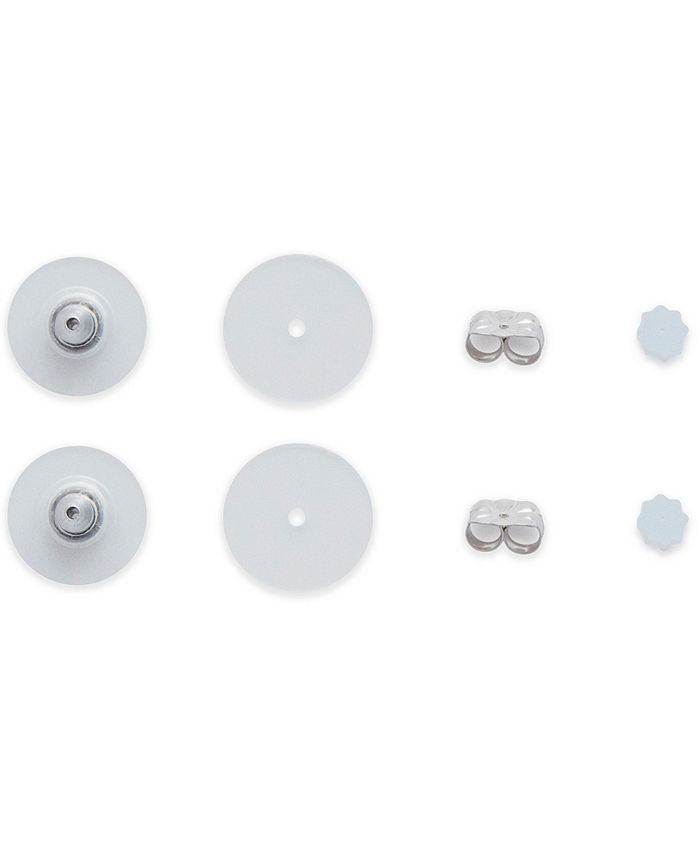 DRS - 8-Pc. Set Earring Backs in White Plastic & 14k White Gold