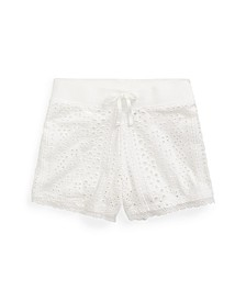Toddler Girls Eyelet Lace Jersey Cotton Shorts