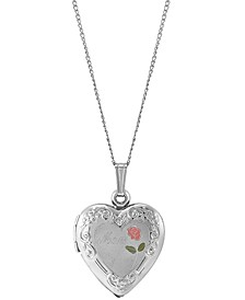 "Mom Enamel Rose Heart Locket 18"" Pendant Necklace in Sterling Silver"