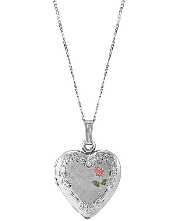 "Macy's Mom Enamel Rose Heart Locket 18"" Pendant Necklace in Sterling Silver"