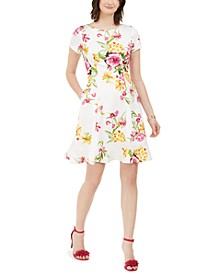 Petite Scuba Floral Fit & Flare Dress