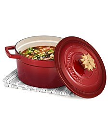 4-Qt. Enameled Cast Iron Round Dutch Oven with Poinsettia Finial, Created for Macy's