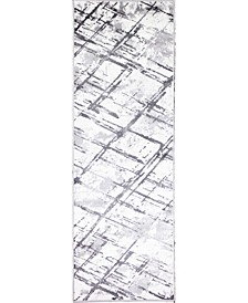 "Grenada Bar-07 Ivory, Gray 2'6"" x 8' Runner Rug"