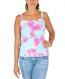 Juniors' Cloud Tie-Dyed Ribbed Tank Top