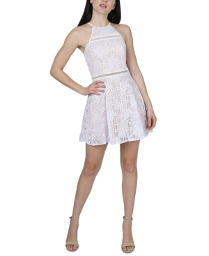 Juniors' Floral Lace Fit & Flare Dress