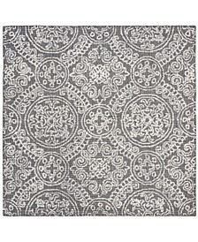 Abstract 522 Gray and Ivory 6' x 6' Square Area Rug