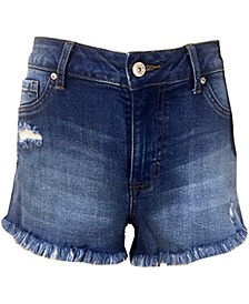 Juniors' High Rise Curvy-Fit Frayed Denim Shorts