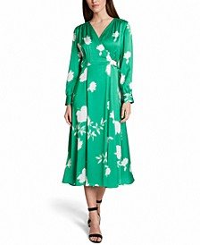 Long-Sleeve Midi Faux-Wrap Dress