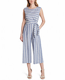 Tahari ASL Striped Cropped Jumpsuit, Created for Macy's