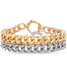 Two-Tone 2-Pc. Set Curb Link Bracelets