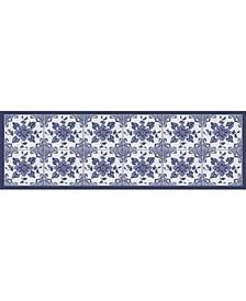 """Florart Delft Floral Blue 1'10"""" x 5'9"""" Runner Rug"""