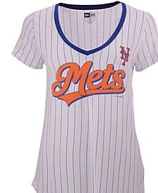 Women's New York Mets Pinstripe V-Neck T-Shirt