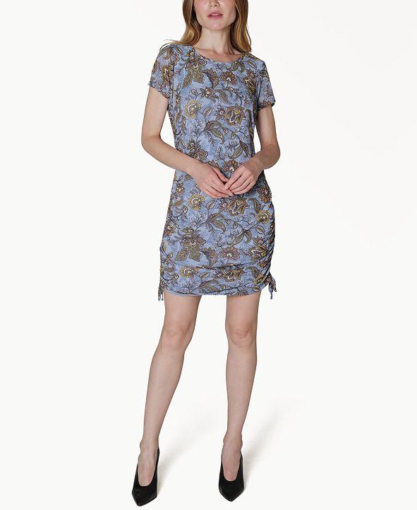 Ultra Flirt Juniors' Paisley Print Ruched Shift Dress
