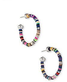 Medium Disc-Bead Hoop Earrings, 1.25""