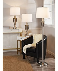 Steel Floor and Table Lamp Set, Pack of 3