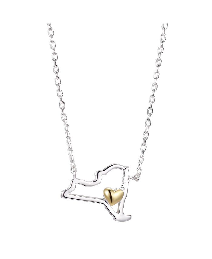 """Unwritten - Gold Flash Plated New York State Pendant Necklace, 16""""+2"""" Extender"""