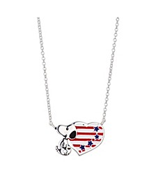 """Fine Silver Plated """"Snoopy"""" Americana Heart Pendant Necklace, 16""""+2"""" for Unwritten"""
