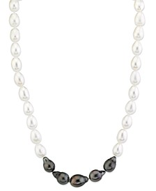 "Cultured Tahitian Pearl (8-10-1/2mm) & Cultured Freshwater Pearl (8-10-1/2mm) 17"" Collar Necklace"