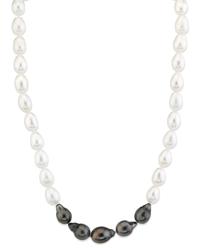 """Macy's - Cultured Tahitian Pearl (8-10-1/2mm) & Cultured Freshwater Pearl (8-10-1/2mm) 17"""" Collar Necklace"""